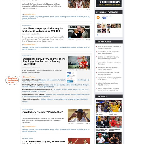 The Fantasy Daily, Curated Sports News website