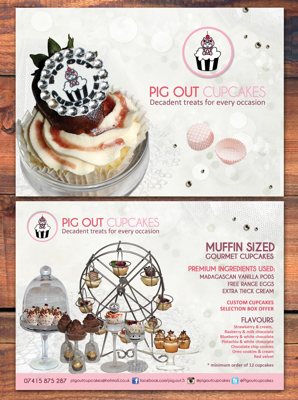 Help Pig Out Cupcakes with a new postcard or flyer