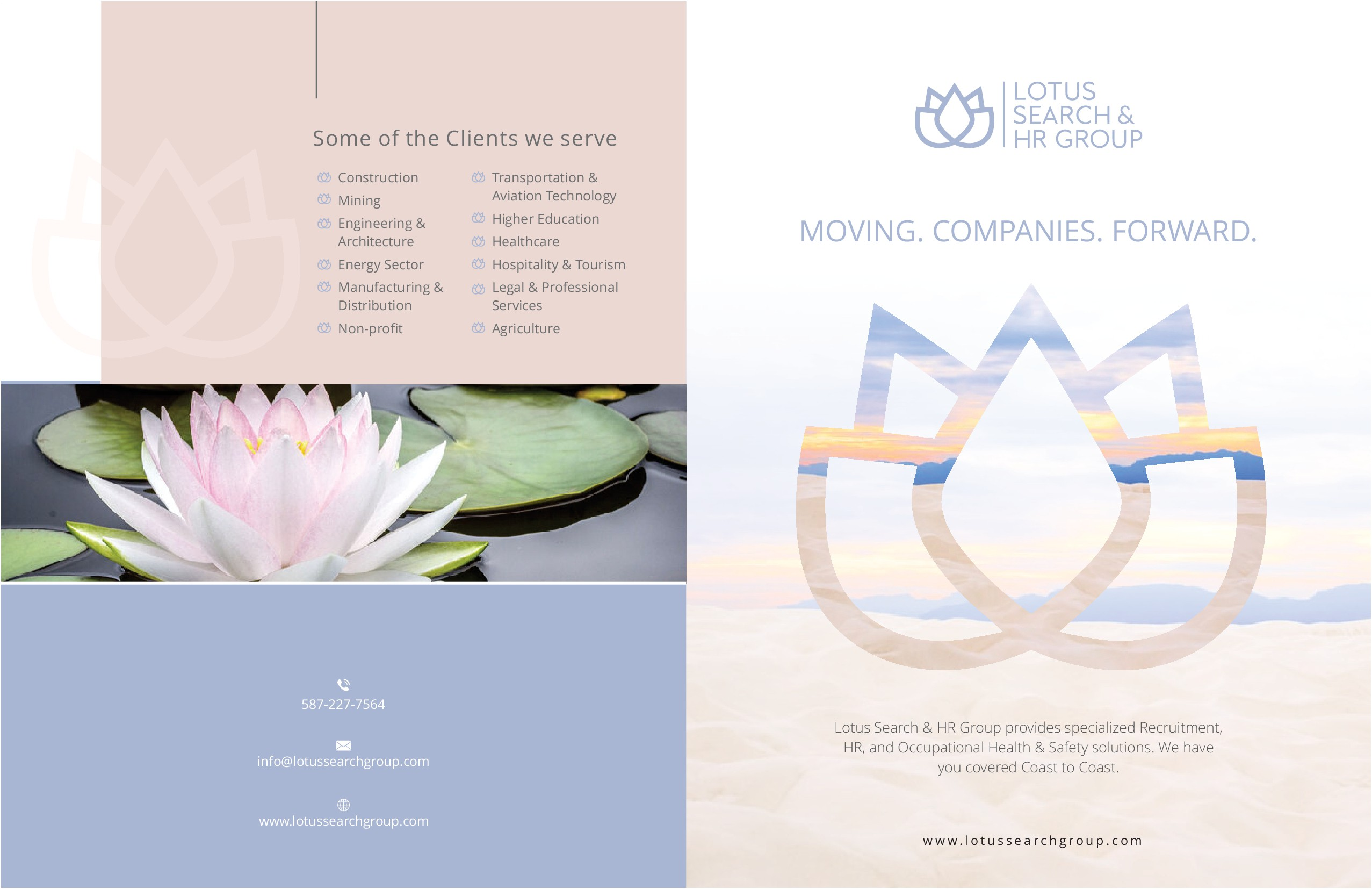 Design a brochure that appeals to companies 'Lotus HR Group Solutions Brochure'