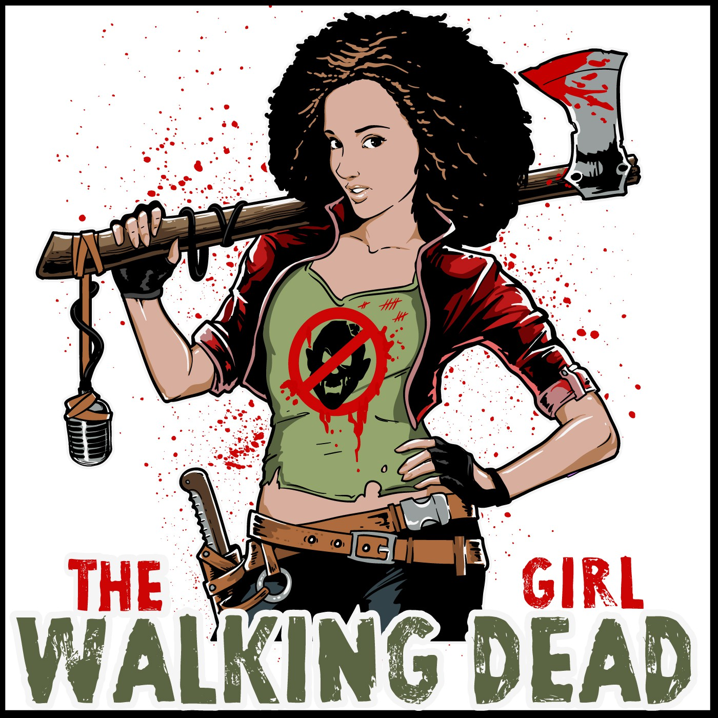 Blend the world of The Walking Dead with a strong female character in a logo for podcast artwork.