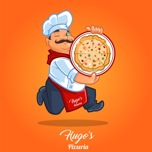 Hugo's Pizza Mascot Logo