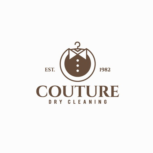vintage logo for couture dry cleaning