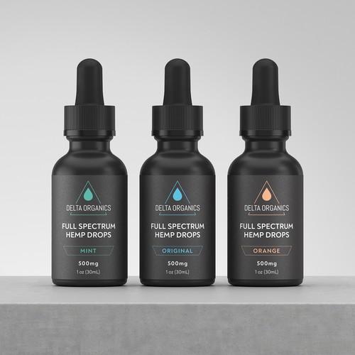 Delta Organics Full Spectrum Hemp Drops Label Design