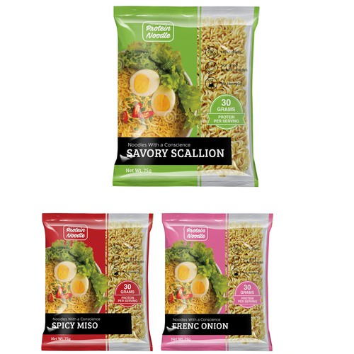 Packaging design for protein noodles