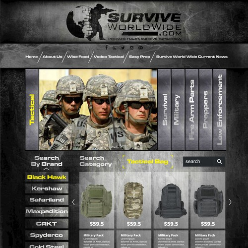 Homepage Design for Ecommerce Business - Survival and Military GearSeller