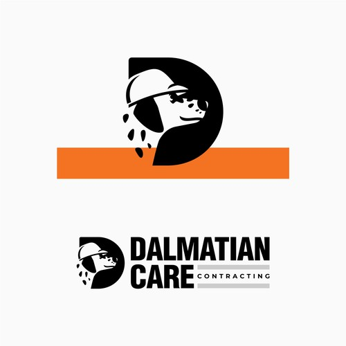 Dalmatian wearing a hardhat logo for a contracting firm