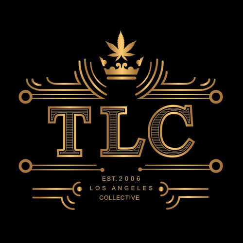 Golden impact logo for TLC, a medical cannabis dispensary.