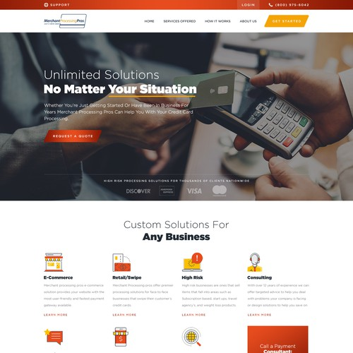 Web page design for a Credit card processing company