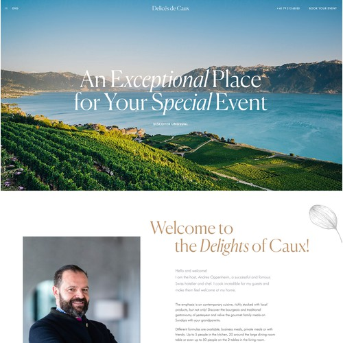 Landing page design for private events business
