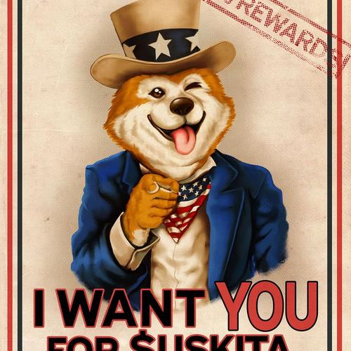 $USKITA crypto campaign poster
