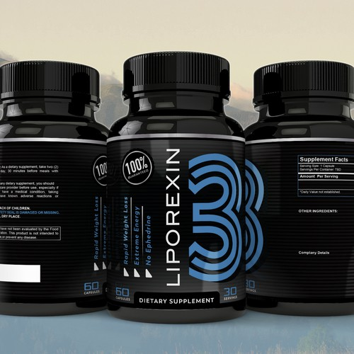 Supplements bottle label design