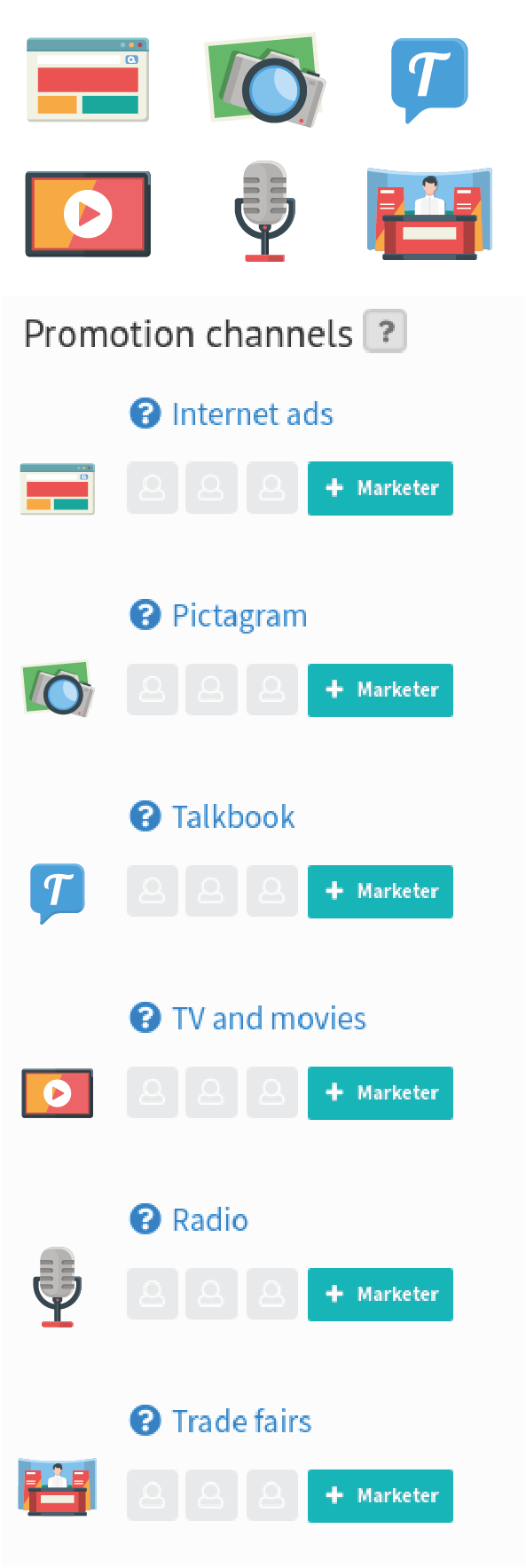 Promotion channel icons