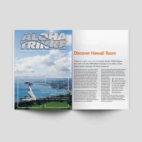 Newspaper ad for a Hawaiian travel company