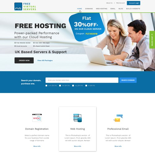 web design for a web hosting, domain registration and cloud computing company based in the UK