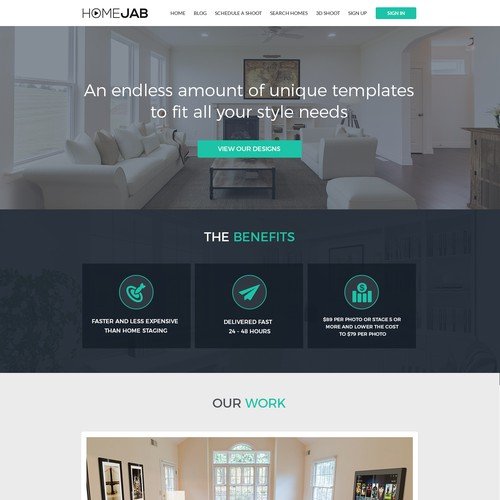 Landing page for virtual staging