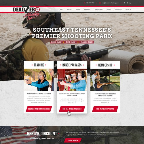 Bold Strong Website Design for Outdoor Shooting Range