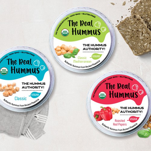 Design for an organic hummus product.