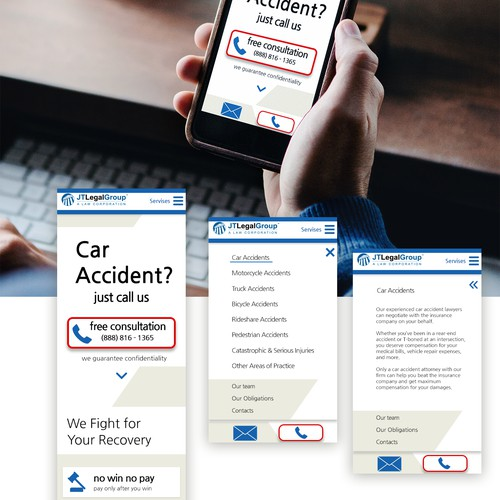 Landing page for car accident attorney