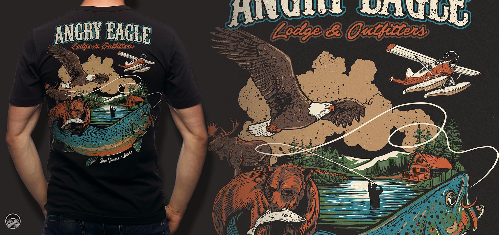 New T-Shirt for Angry Eagle Lodge & Outfitters, Lake Iliamna, Alaska