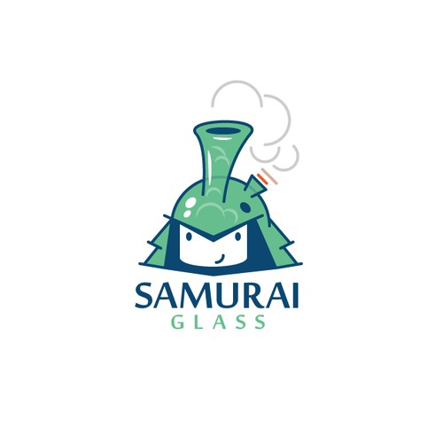 Glass Samurai head for headshop shop