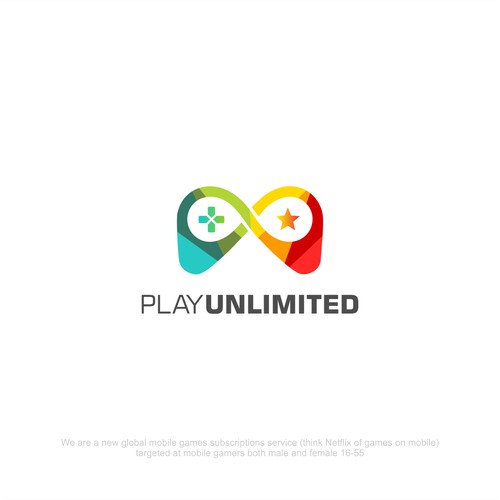 Fun and playful logo for mobile game subscription, PLAY UNLIMITED