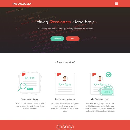 Landing page concept for Insourcely
