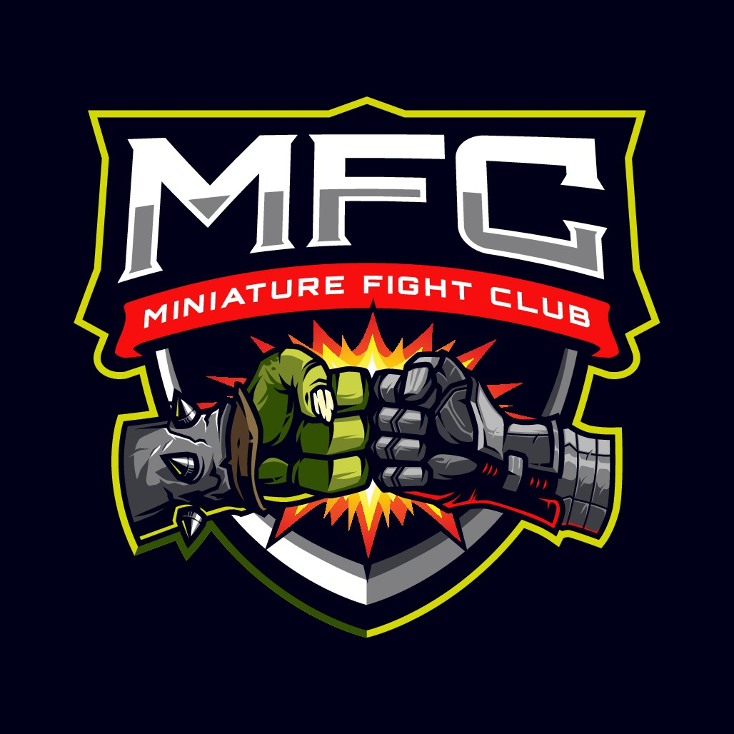 """logo for """"Miniature Fight Club"""" a fantasy gaming youtube channel"""