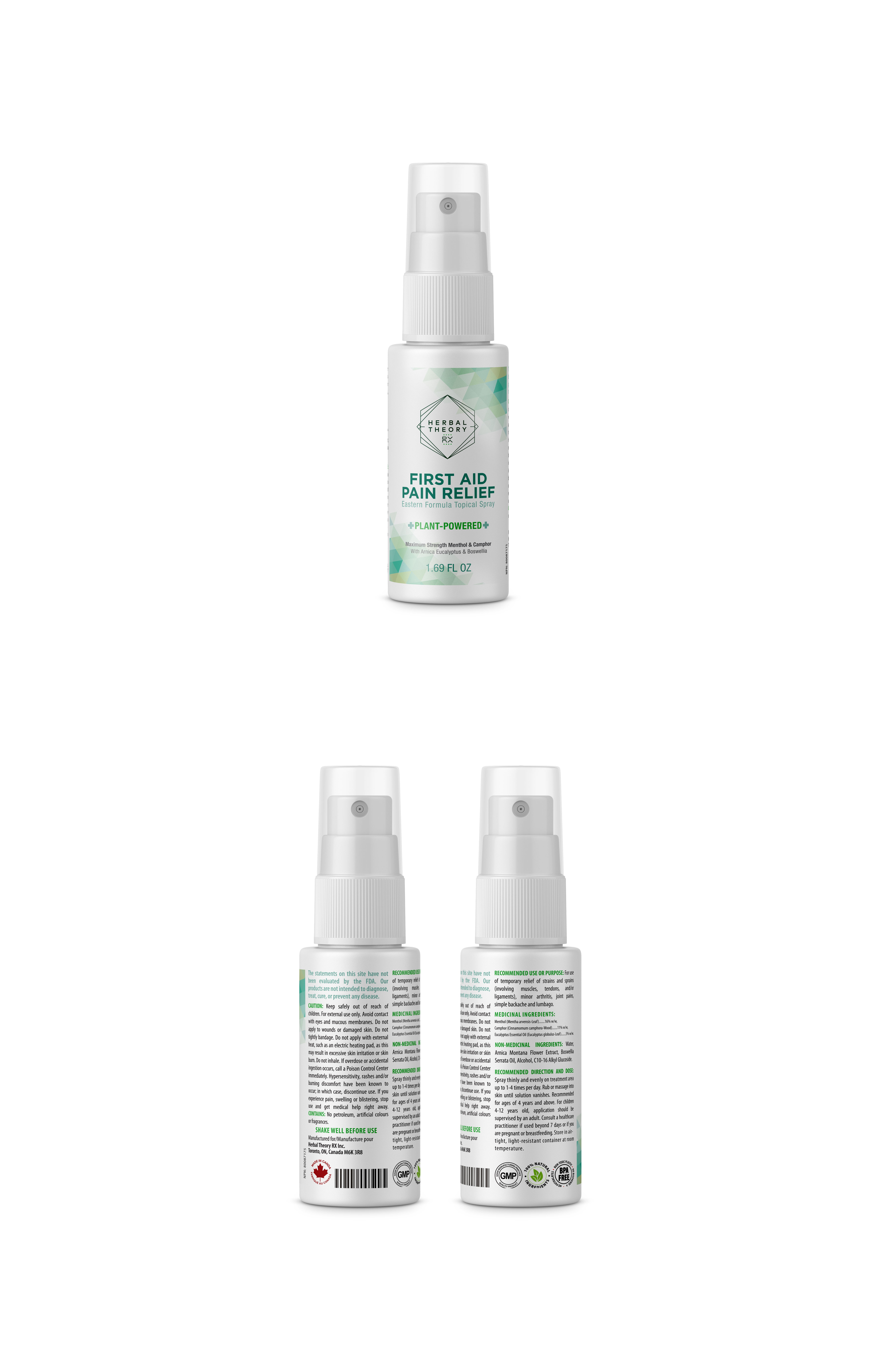 Modern Creative Design for 100% Natural First Aid Pain Relief Spray! #PLANTPOWERED