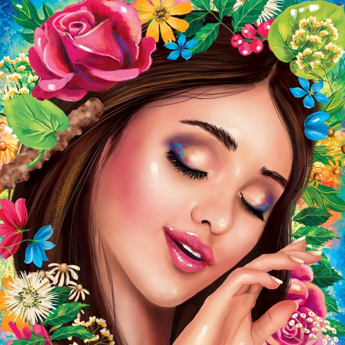 Beautiful woman illustration for skin nutrition product