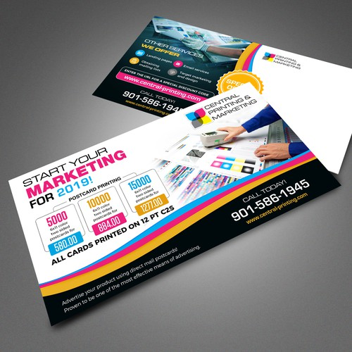 Printing company postcard