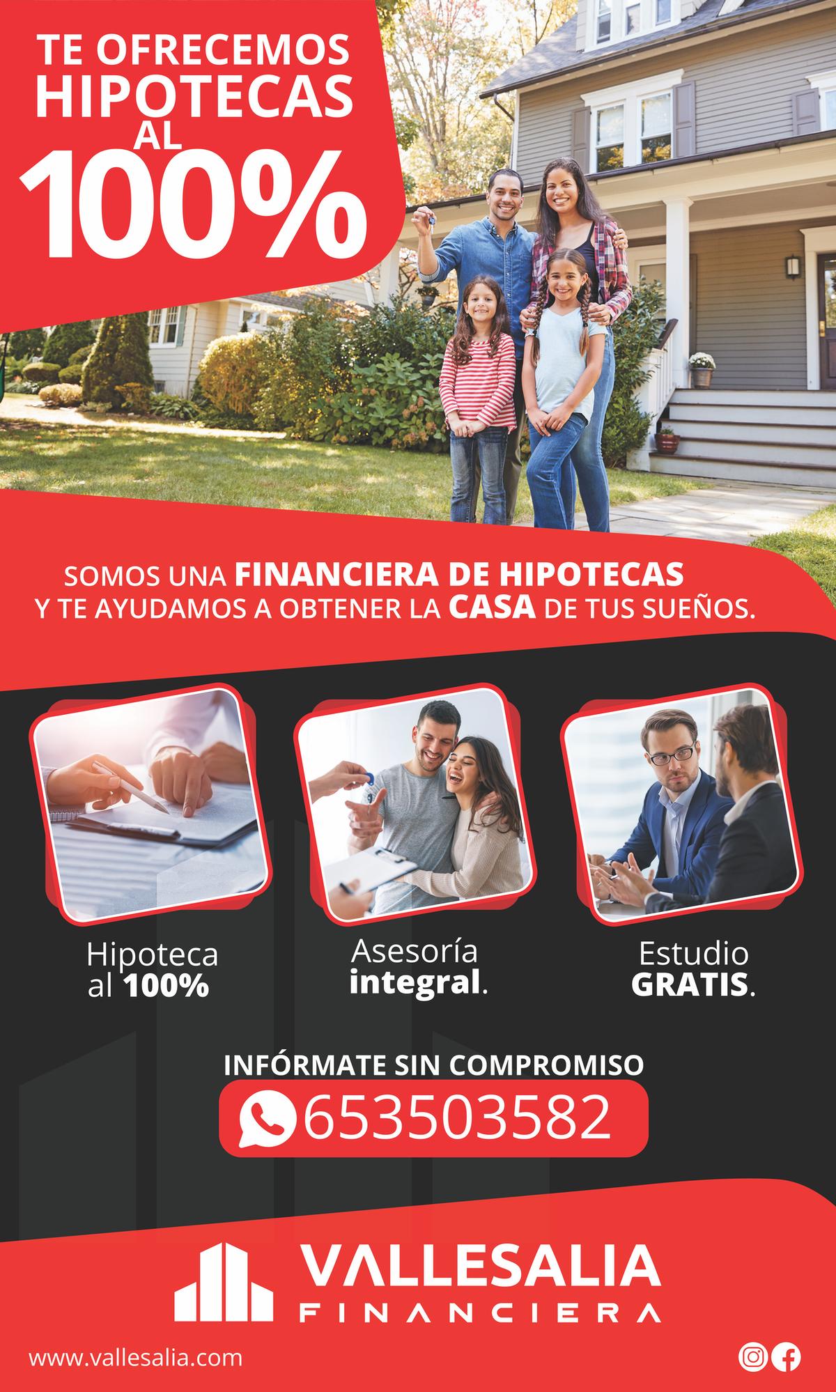 PROMOCIONAR NUEVO SERVICIO CONSEGUIMOS DE HIPOTECAS 100%. AHORA TAMBIEN SOMOS FINANCIERA.