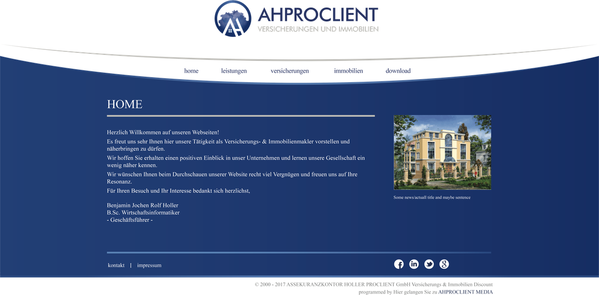 AHPROCLIENT - Webdesign