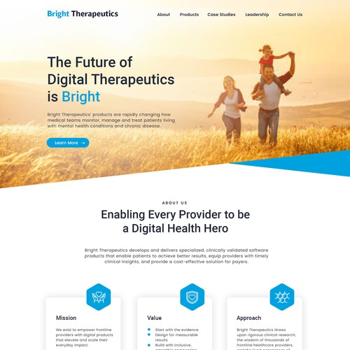 Health care landing page