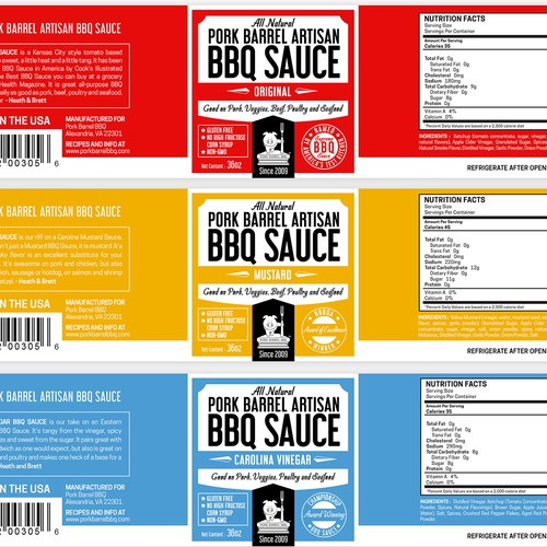 Pork Barrel Artisan BBQ Sauce Label Design Concept