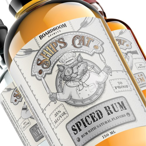 Ship's Cat Spiced Rum label.