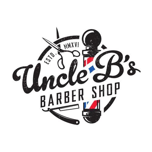 Vintage style logo for Uncle B's Barber Shop.