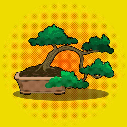 Bonsai Tree Pop Style Illustration