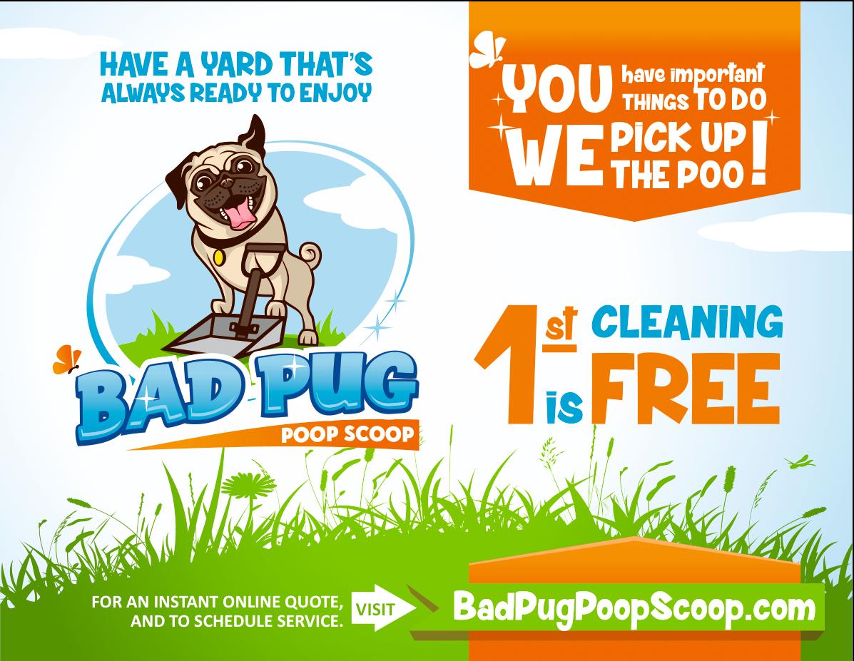 Door hanger and post card design for Bad Pug Poop Scoop