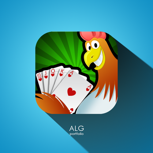 Poker Chicken mobile game icon design