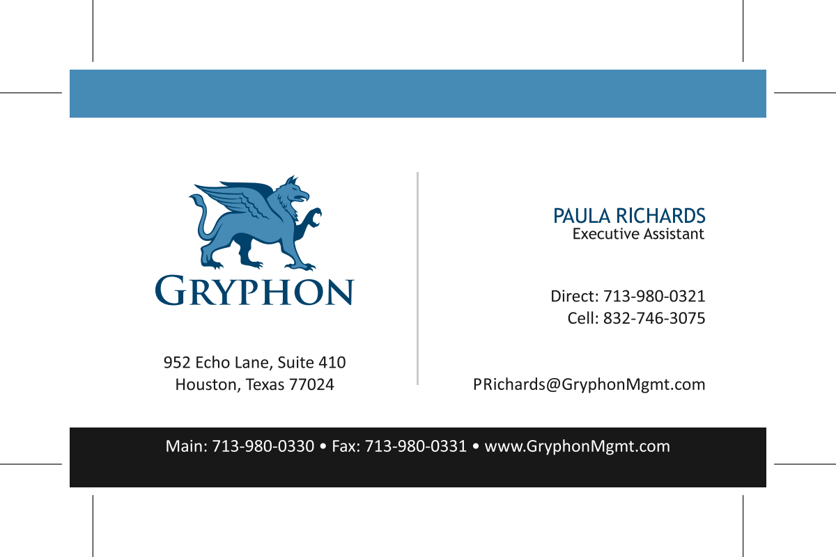New Colors for Gryphon Business Card
