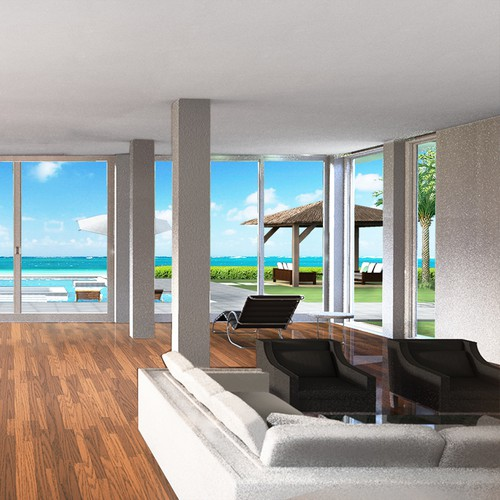 Illustrations of modern, luxury, oceanfront vacation home