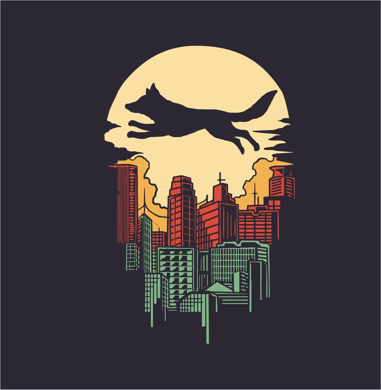 Metro Fox Clothing Co. city themed T-Shirt Design