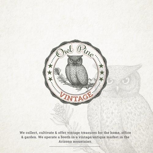 Owl Pine Vintage logo design for vintage/antique market.