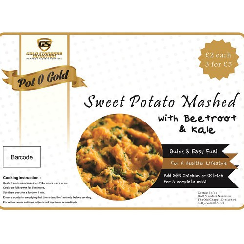 Create a label for a sweet potato mash aimed at the health industry