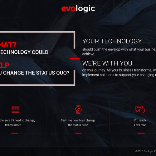 Created the home page design for Evologic