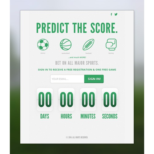 Landing page design for betting service.