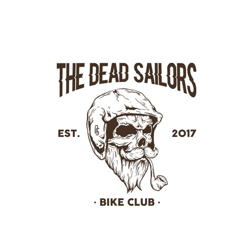 Skull Sailor Hipster Logo Illustration