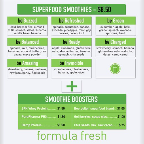 ORGANIC JUICERY & COFFEEHOUSE NEEDS CLEAN AND MODERN MENU BOARD DESIGN!