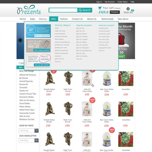 Homepage Design for Ecommerece Business - Gift Shop Store