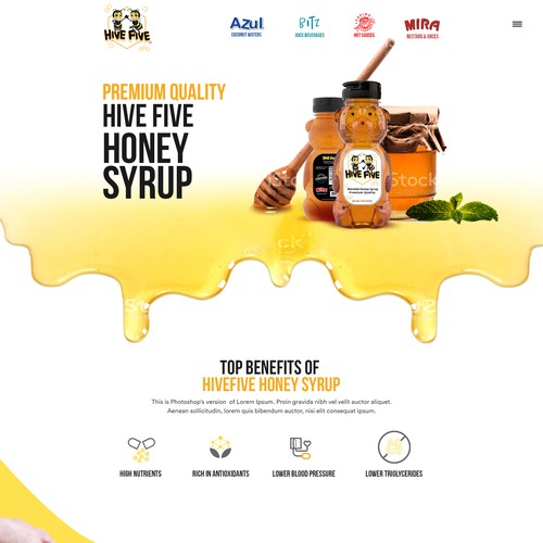 Hone Syrup landing page design